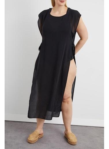 Curly Siyah Büyük Beden Plaj Elbisesi Siyah